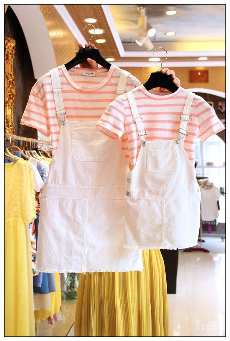 Parent-child outfit  two-piece outfit summer 2016 new mother and daughter striped  short sleeves t shirt cowboy braces suit tide