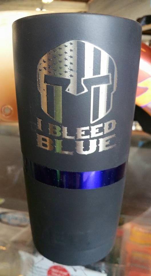 Thin Blue Line Yeti Rambler Custom Powder Coating And