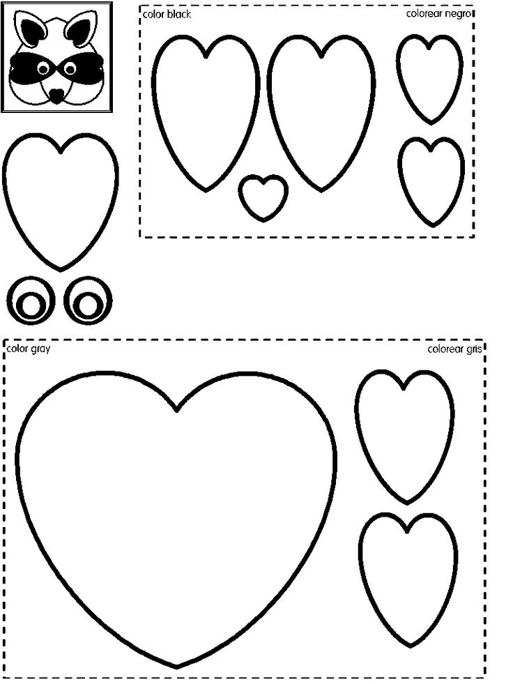 Raccoon Craft | Heart Shapes | Preschool Printable Activities | Coloring Page Version