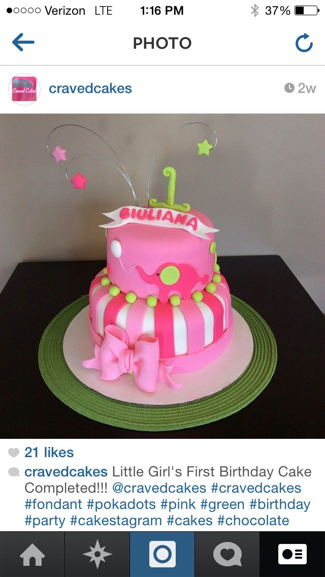 Pink and green first birthday cake with elephant by @Cravedcakes ...