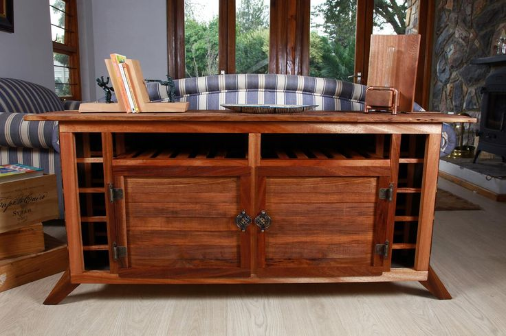 Tambotie and Kiaat couch end table / media centre