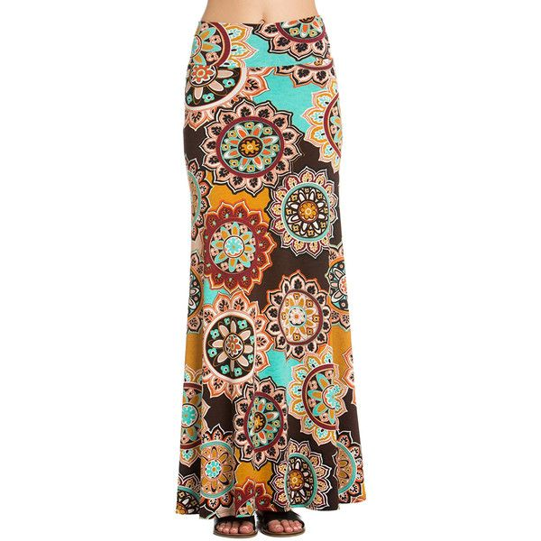 Brown Yellow Bohemian Print Maxi Skirt (335 ZAR) ❤ liked on Polyvore featuring skirts, boho maxi skirt, bohemian maxi skirts, long bohemian skirt, long boho skirts and brown maxi skirt