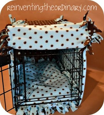 DIY No Sew Dog Crate Cover. Maybe when I get another dog that won't actually chew the blanket from inside the cage