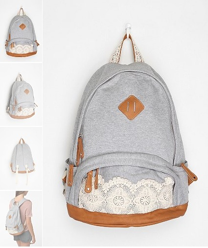 sweatshirt knit backpack: Schools Bags, Urban Outfitters, Back To Schools, Cute Backpacks, Style, Blue Lace, Jersey Backpacks, Lace Backpacks, Accessories