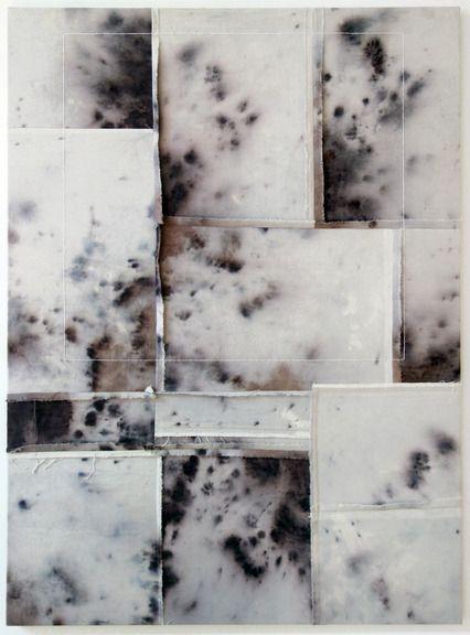 Alexander Wolff, fabric dye and thread on drop cloth