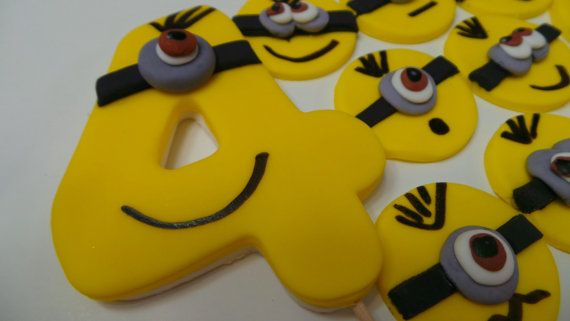 FONDANT MINION birthday set  Edible Minion cupcake by anafeke3