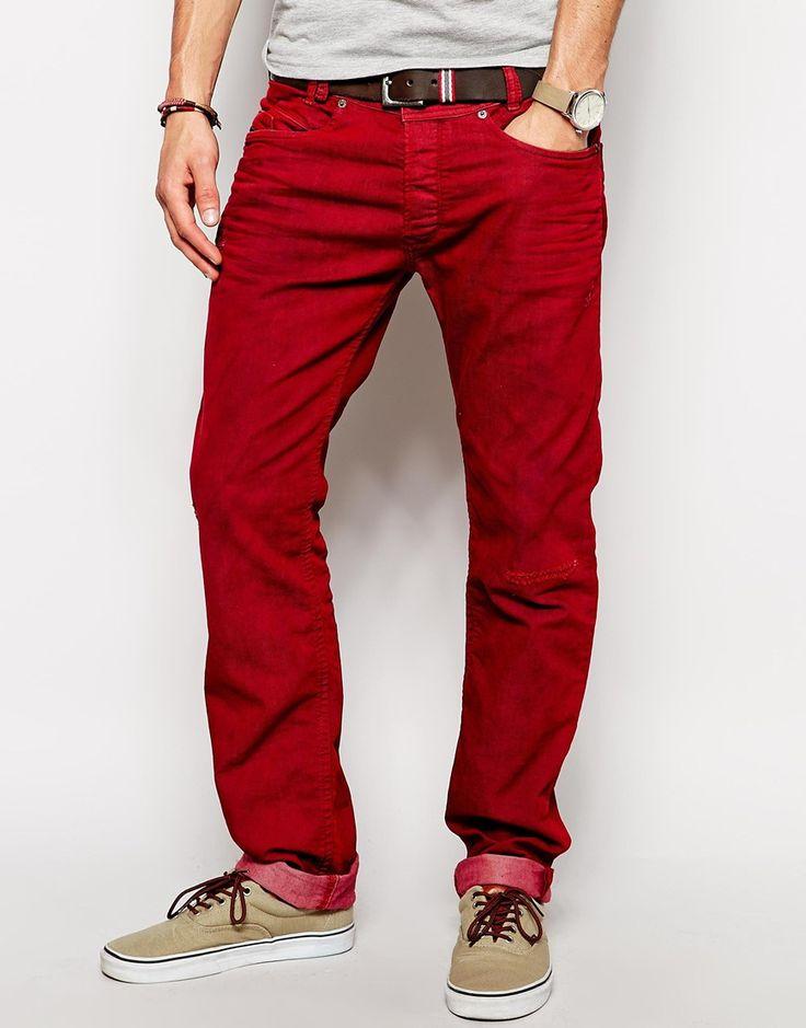 Schmal geschnittene Jeans von Diesel aus Baumwoll-Denim klassischer Fünf-Taschen-Stil überfärbte Waschung eng geschnitten