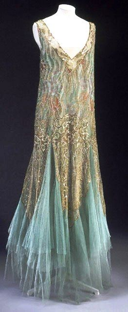 "'1920s gown by Charles Frederick Worth It was a golden time for the demand for"" luxury goods, including textiles and fashionable dress.""'"