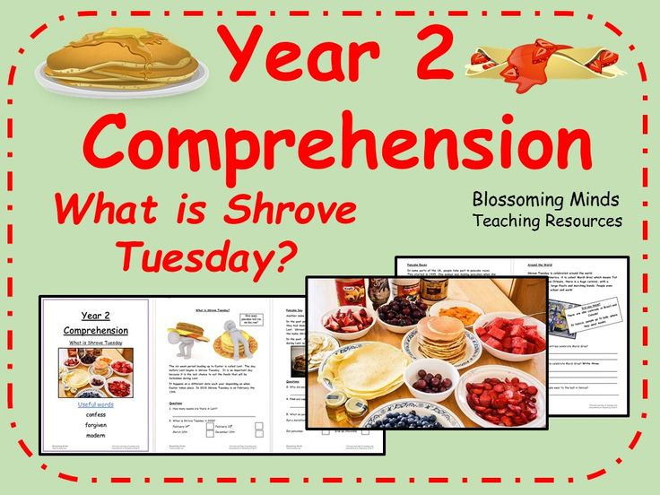 Year 2 SATs-style comprehension - What is Shrove Tuesday? (pancake day)