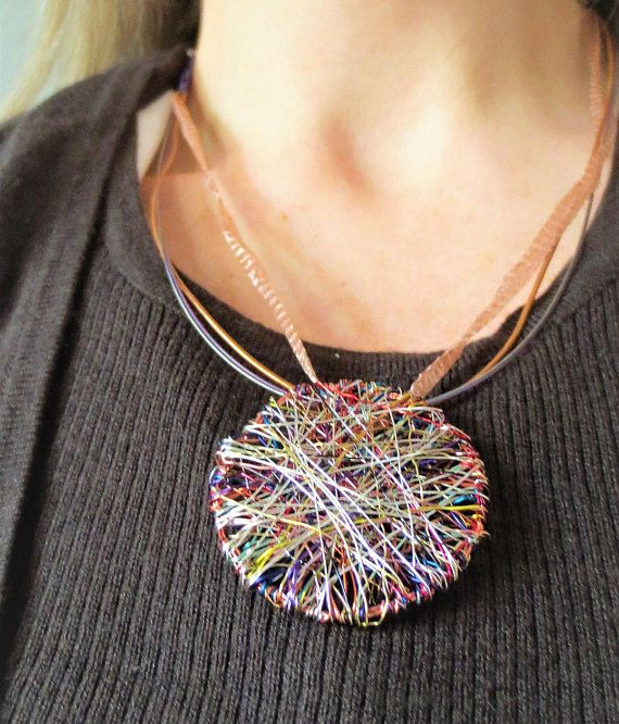 Round necklace, geometric necklace, statement necklace, wire jewelry, Autumn, modern hippie, disc, rainbow, Unique Birthday gift for women  Handmade round, geometric, statement, wire necklace, made of colored copper wire and silver. The overall size of the disc, rainbow, modern hippie, the autumn necklace is 4.5cm (1.77 in). The unique birthday necklace gift, for women hanging from steel wire, leather and metal band, the clip is silver.