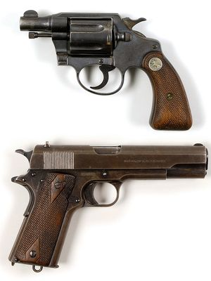 Bonnie Parker had this Colt Detective Special .38 revolver (top) strapped to her thigh when she was killed. Frank Hamer took Clyde Barrow's Colt Government Model 1911 .45 caliber pistol from the waistband of Barrow's body after an ambush on May 23, 1934. The weapons are not shown in accurate scale.