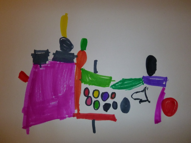 observational drawing. a pom-pom restaurant, originally created by Hannah and Devin. drawn by Hannah.