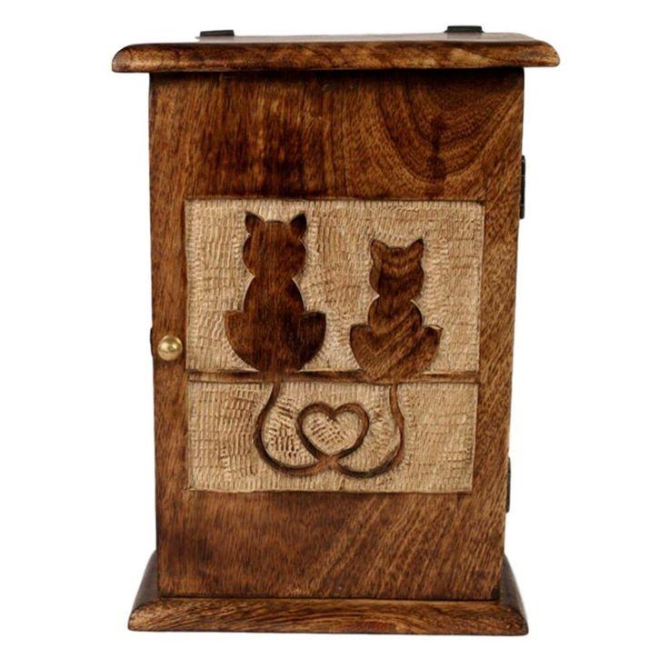 JJ VAILLANT RUSTIC HAND CARVED MANGO WOOD CAT KEY STORAGE BOX / CUPBOARD #JJVaillant