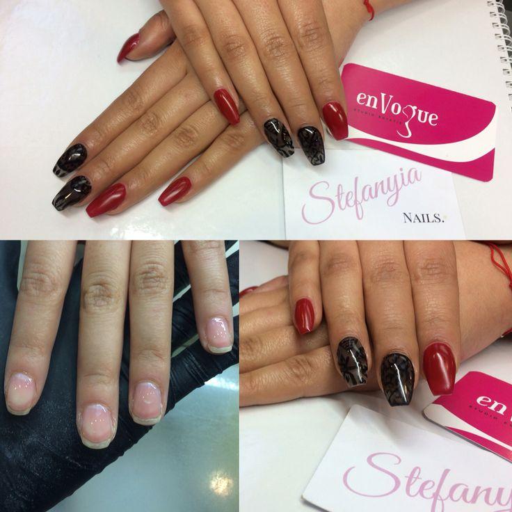 Gel nails almond sharpe red black matte