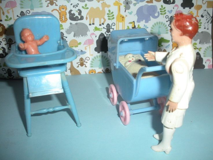 RENWAL NURSE, BUGGY WITH BABY INSERT, HIGH CHAIR WITH BABY DOLLHOUSE  FURNITURE | EBay