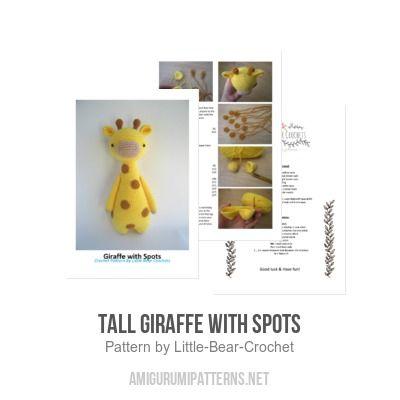 Tall giraffe with spots amigurumi pattern by Little Bear Crochet