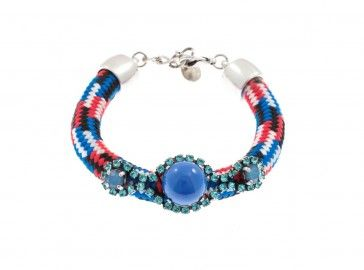 """Crossandra"" - Handmade antique metal plated bracelet with blue Swarovski strasses, beads and rope, by Art Wear Dimitriadis"