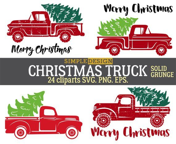 Old Truck With Christmas Tree.Christmas Red Truck Xmas Tree Old Vintage Retro Silhouette