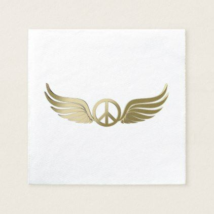 Metal look peace symbol with wings paper napkin - metal style gift ideas unique diy personalize