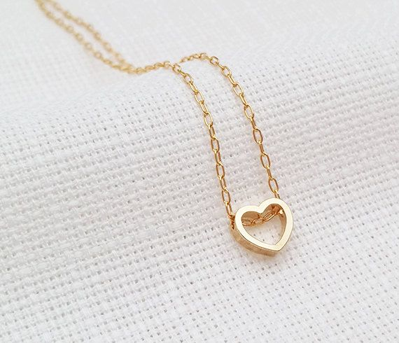 Gold heart necklace Small heart necklace Dainty by HLcollection #gold #heart #necklace