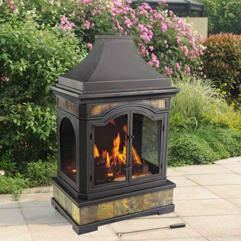 Sunjoy Monroe Outdoor Wood Burning Fireplace | Foyer ... on Costco Outdoor Fireplace  id=40918