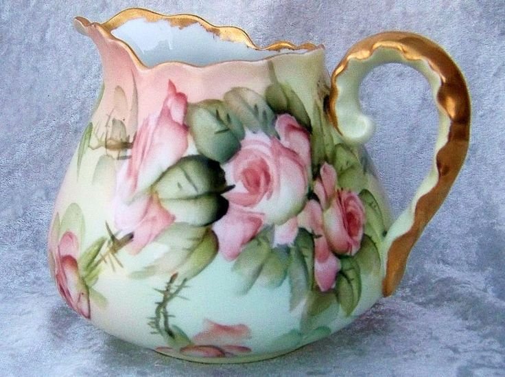 "Spectacular Limoges France Hand Painted 1910 ""Peach & White Roses"" Cider Pitcher by the Renowned Artist, ""Ester Miler"""