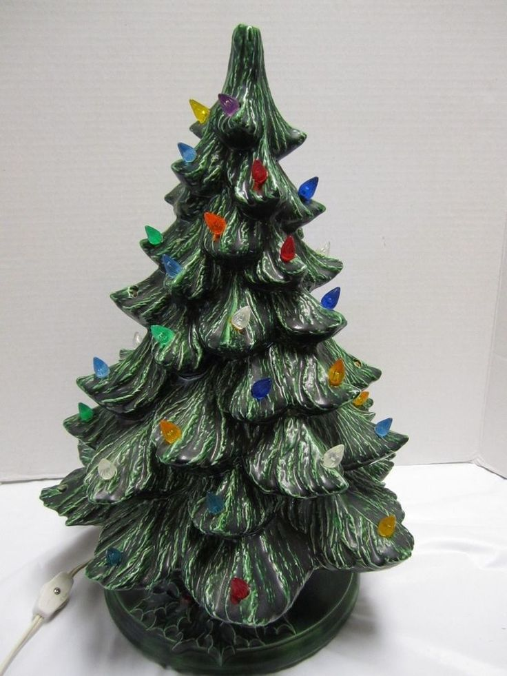 Ceramic Christmas Tree Plastic Lights