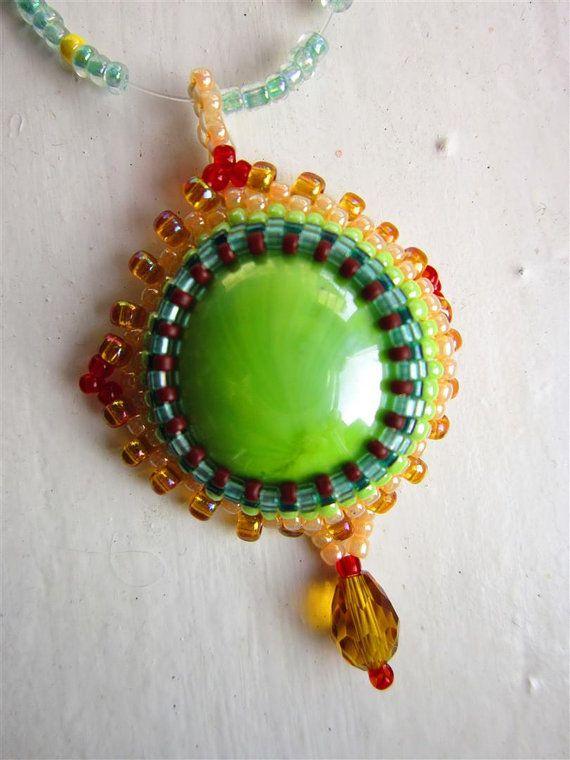 Tiger eye pendant necklacebeaded handmade by ImolArt on Etsy