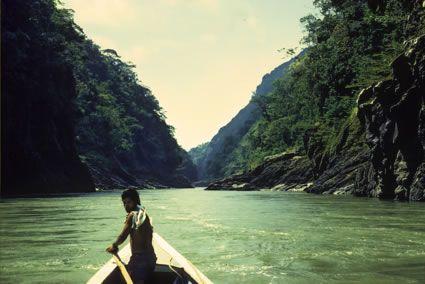 Candide and Cacambo étaient perdu, et montraient sur un fleuve (22)