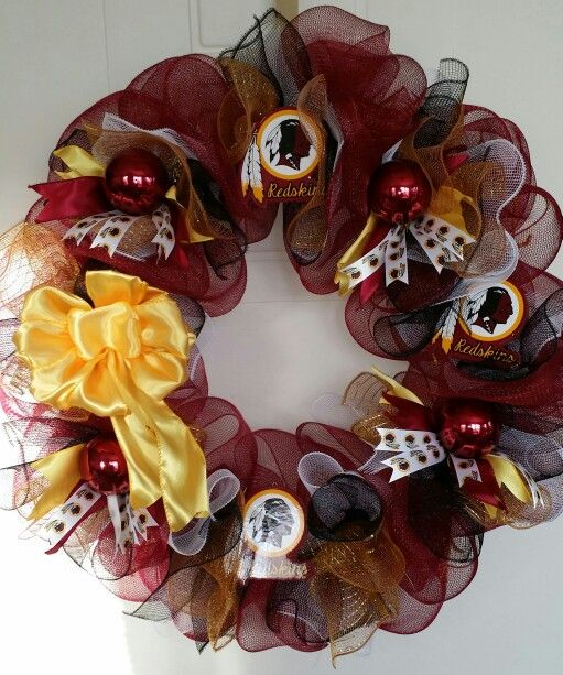 Washington redskins deco mesh wreath i made and i can make one for you. please visit my etsy shop.   www.pinkechelon.etsy.com
