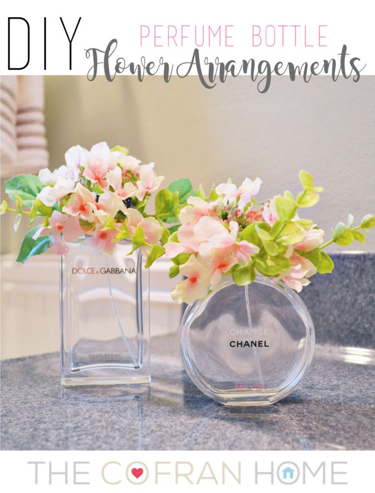 I didn't want to throw away my empty perfume bottles, so I used them to make these DIY flower arrangements!  Super simple and a great way to brighten up any room!