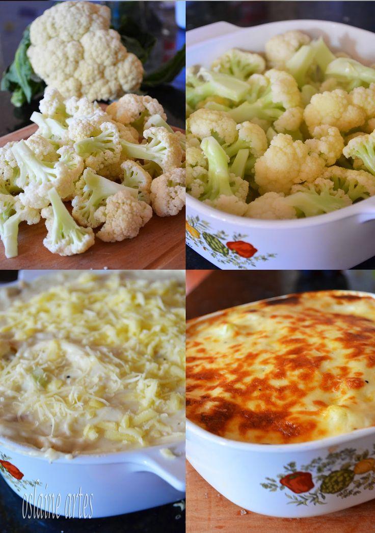 Receita de couve-flor Receita 1 couve-flor média picada 3 colheres (sopa) de manteiga ou margarina 1/2 cebola picadinha 2 dentes de alho picados 3 colheres (sopa) de farinha de trigo 3 xicaras de leite sal e pimenta a gosto 1 xicara de queijo mussarela ralado queijo parmesão ralado a gosto Modo de Fazer Leve ao fogo uma panela com aproximadamente 1 litro de água e 1/2 xicara de leite (o leite ajuda a manter a cor e o s