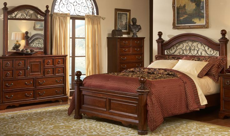 wrought iron and wood bedroom sets | ... Bedroom Set with Wrought Iron Headboard and Mirror - Castile (Bedroom