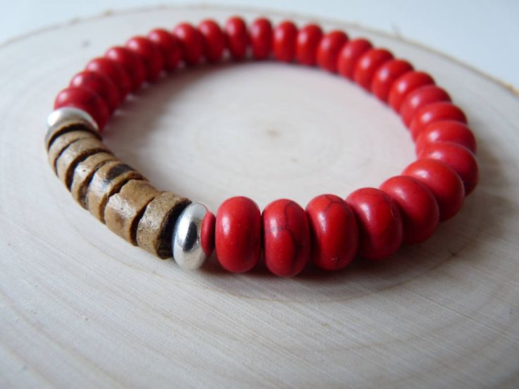 Red bracelet, Gemstone and wood bracelet, Howlite power bracelets, Beaded boho jewelry, Wooden jewelry, Wooden bracelet, Women bracelet , by nkcraftstudio on Etsy