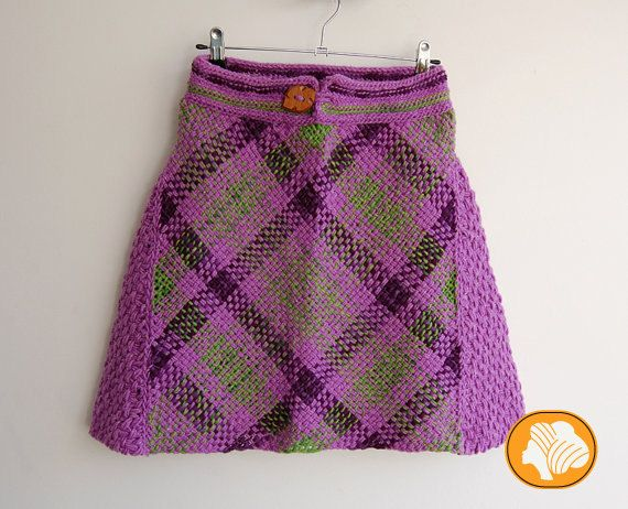 Lilac and green tartan skirt