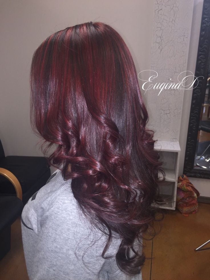 Violet red full color, highlights, haircut and style