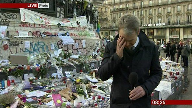 The moment BBC Breakfast reported Graham Satchell breaks down in tears during a live report from Paris following the terror attacks.