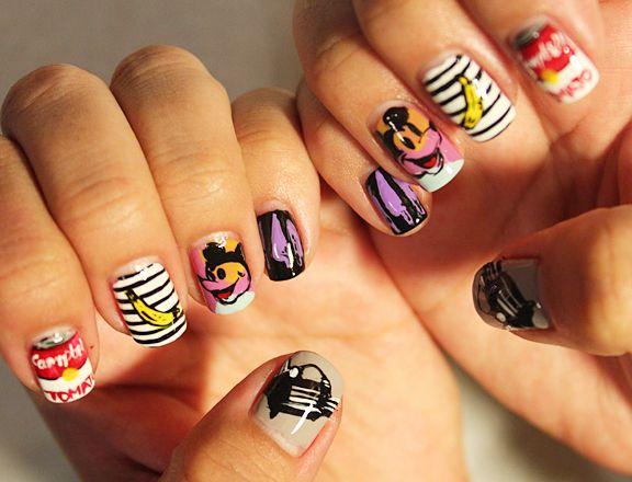 Andy Warhol nails.: Pop Art, Warhol Nails, Nails Makeup, Famous Artists, Nails Polish, Andywarhol, Nails Art Design, Andy Warhol, Art Nails
