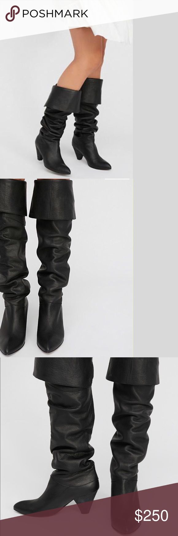 "Brand New Over-the-knee Boots NWB Free People luxe leather over-the-knee boots featured in a versatile style. Wear folded, slouchy, or all the way up. Top Rated. NWB - pull-on style - stacked heel - pointed toe - made in Spain - Heel 3.5"" shaft 26"" Free People Shoes Over the Knee Boots"