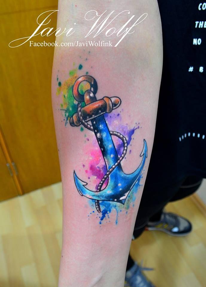 Ancla acuarelosa :)Tattooed by javiwolfinkwww.javiwolf.com