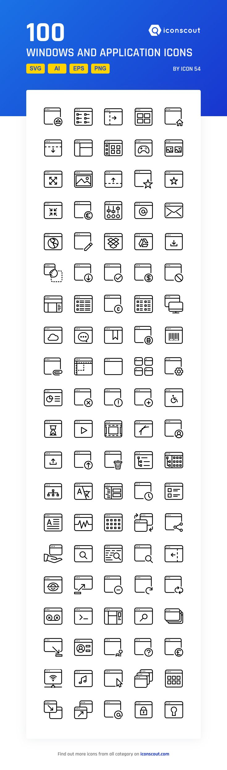 Windows And Application   Icon Pack - 100 Line Icons