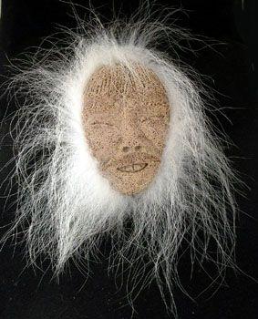 Alaska Eskimo Mask, ossified whalebone. face with teeth, polar bear fur DH79 Evan/Apatiki
