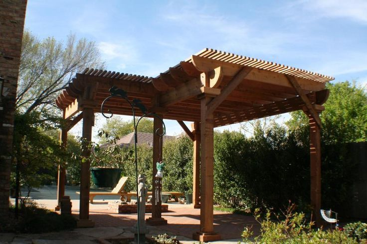 Twolevel Lshaped pergola with benches  PERGOLAS  Pinterest  Pool in 2019  Pergola Pergola