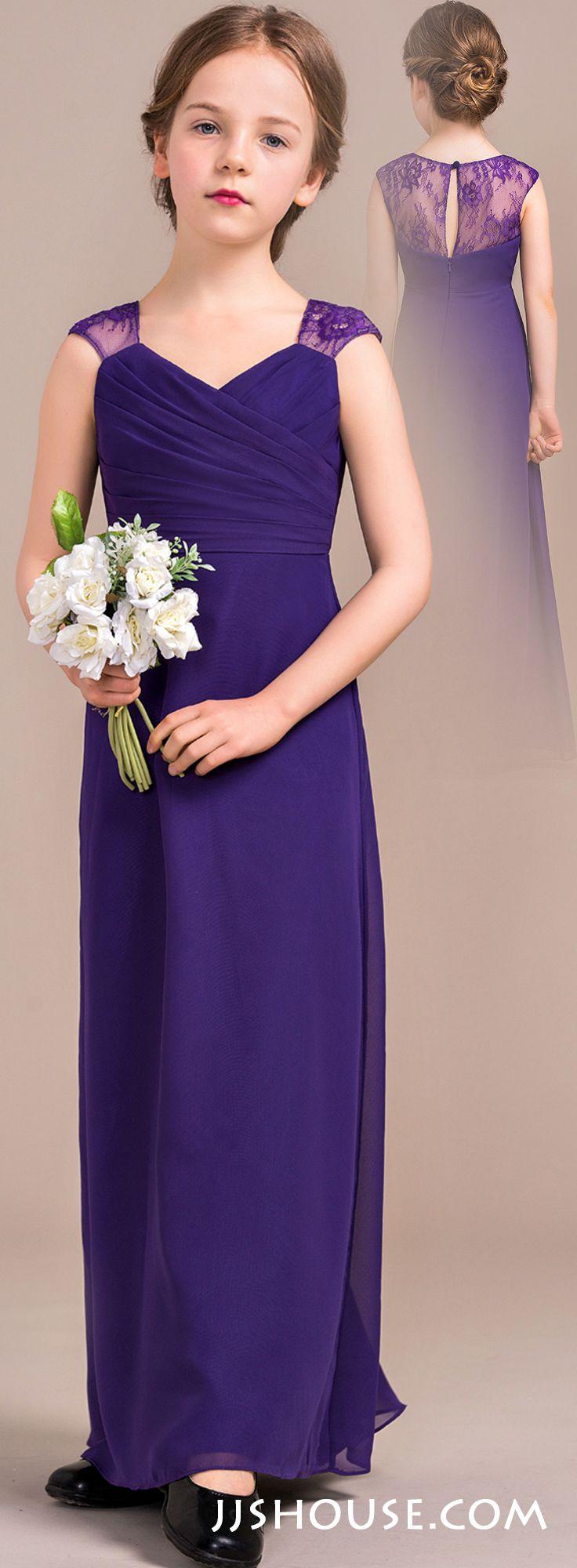Junior bridesmaid hair accessories - Sheath Column V Neck Floor Length Chiffon Junior Bridesmaid Dress With Ruffle 009081142