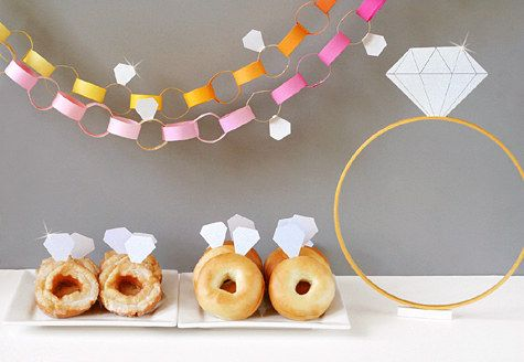Choose a design theme that's easy to DIY (like diamonds), and craft garland, food accents, and props for the party. | 21 Easy Ways To Make A Bachelorette Party Memorable