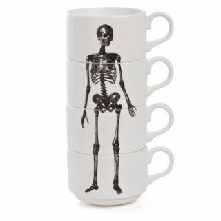 Fun! http://www.lefthandrighteye.bigcartel.com/product/stacking-skeleton-coffee-cups: Skull, Skeletons Cups, Memorial Cups, Cups Stacking, Skeletons Espresso, Bones, Coffee Cups, Phoebe Richardson, Espresso Cups