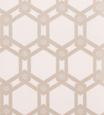 Papel pintado enrejado geométrico tonos beige y brillos - 2030392