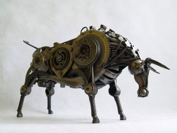Best TRASH REBORN Images On Pinterest Metal Art Sculpture - Salvaged scrap metal transformed to create graceful kinetic steampunk sculptures