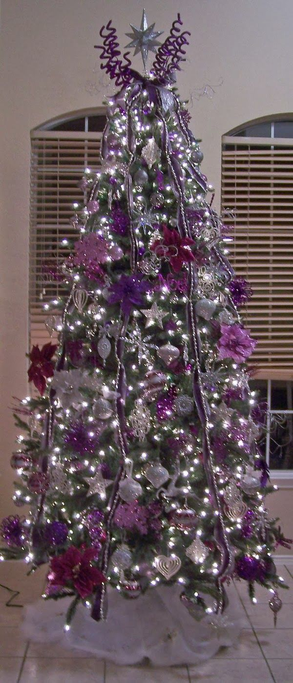Silver christmas tree with color wheel - Purple And Silver Christmas Tree Love The Use Of Advent S Color Of Purple