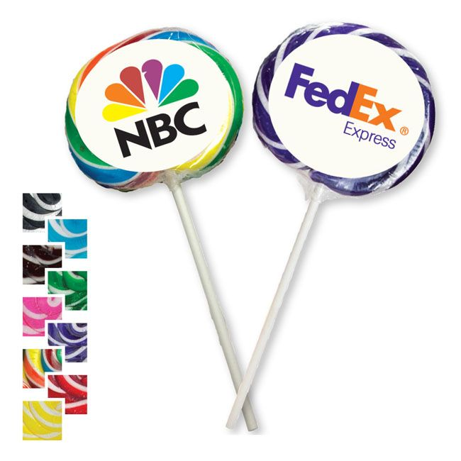 This whirly pops (huge, delicious suckers) are colourful and fun to hand out at you next event, conference or opening. The large centre circle offers a great area to put your logo!